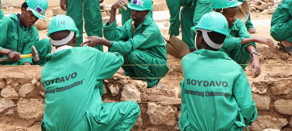 Masonry trainees during their daily practical sessions at SOYDAVO Youth Center